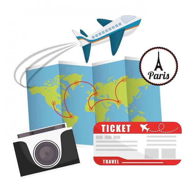 Conception de vacances de voyage. Vecteur Premium