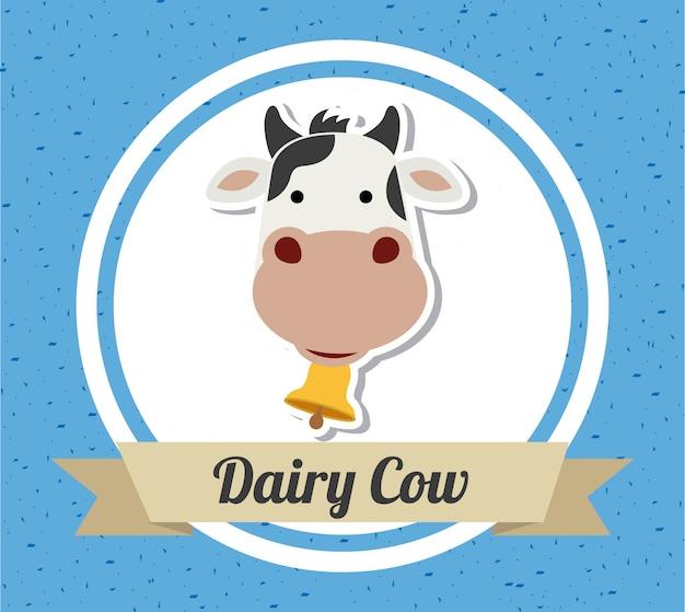 Conception de vache sur fond bleu Vecteur Premium