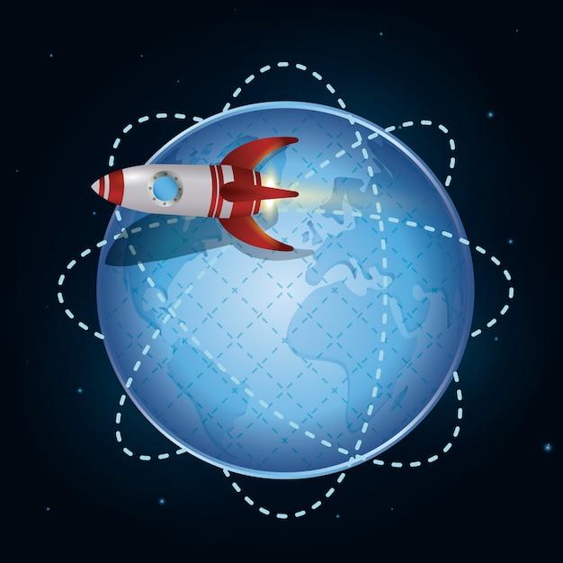 Conception de vaisseau spatial. Vecteur Premium