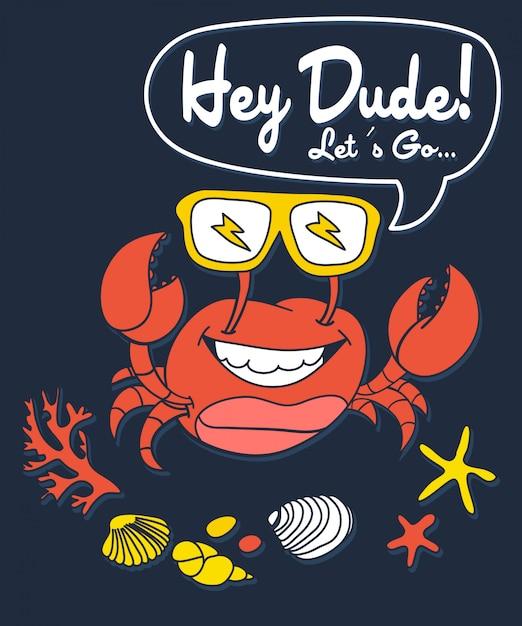 Conception de vecteur de crabe dessinés à la main pour l'impression de t-shirt Vecteur Premium