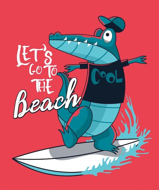 Conception de vecteur de crocodile surfer Vecteur Premium