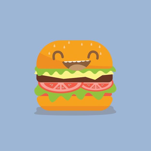 Conception de vecteur de dessin animé burger Vecteur Premium