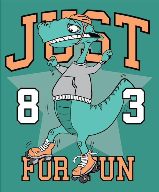 Conception De Vecteur De Dinosaure Cool Dessinés à La Main Pour L'impression De T-shirt Vecteur Premium
