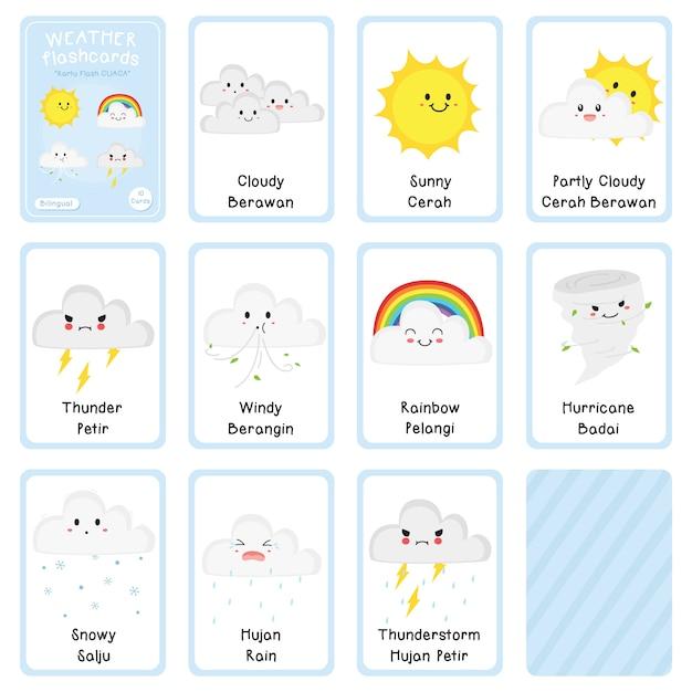 Conception de vecteur de flashcards météo bilingue Vecteur Premium