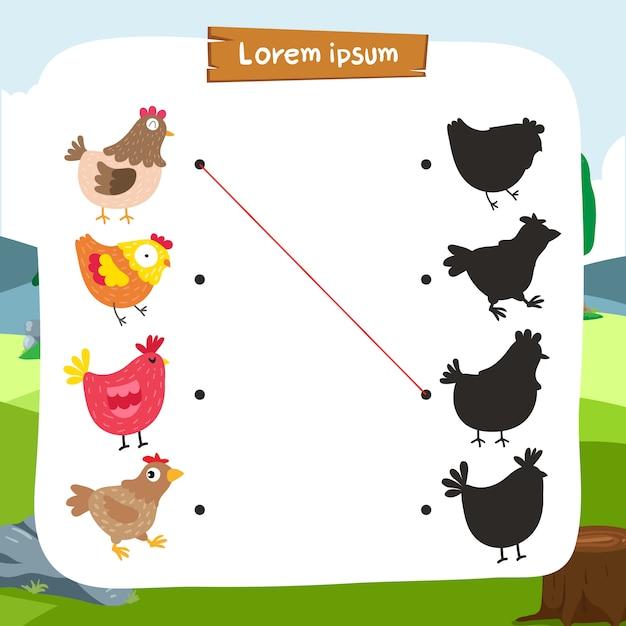Conception de vecteur de jeu correspondant au poulet Vecteur Premium