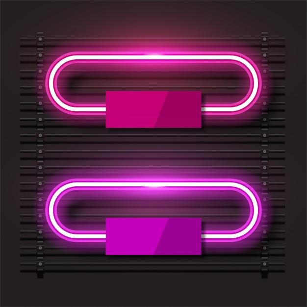Conception de vecteur à la mode néon. bannière horizontale rose. Vecteur Premium