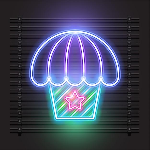 Conception de vecteur de néon cupcake. Vecteur Premium