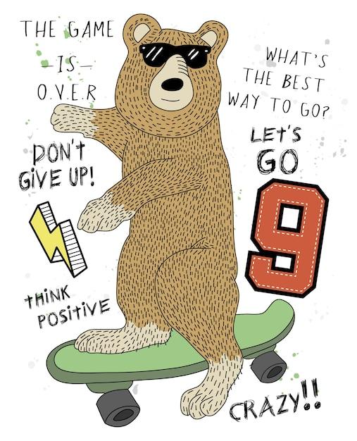 Conception de vecteur ours cool dessinés à la main pour l'impression de t-shirt Vecteur Premium