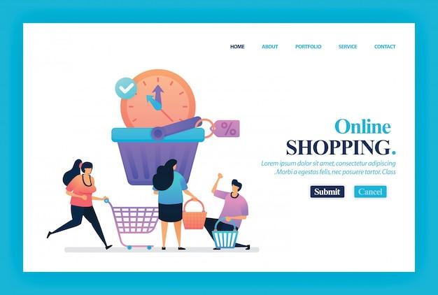 Conception de vecteur de page de destination d'achats en ligne Vecteur Premium