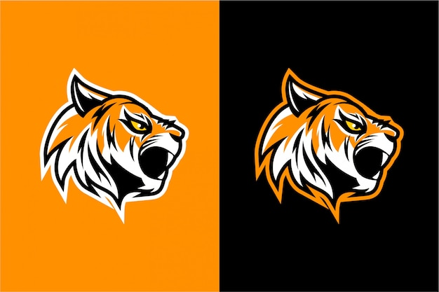 Conception de vecteur de tête de tigre en colère Vecteur Premium