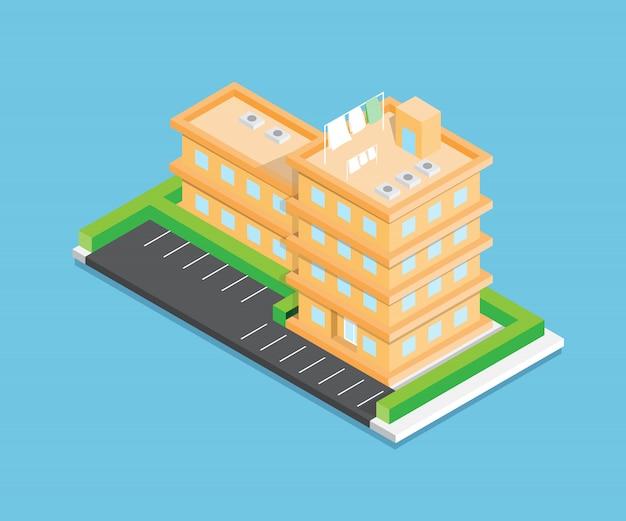 Conception de vecteur de ville isométrique sur fond bleu Vecteur Premium