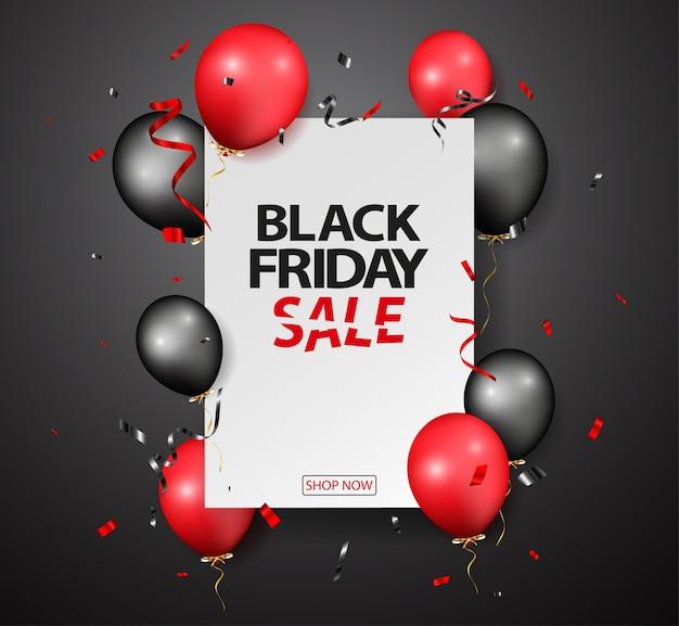 Conception De Vente Vendredi Noir Avec Des Ballons Et Des Confettis Vecteur Premium