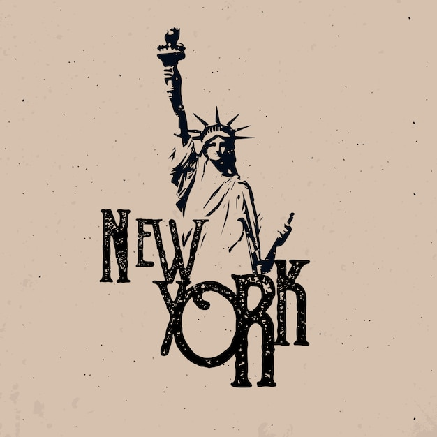 Conception De Vêtements De New York Avec Statue De La Liberté Vecteur Premium