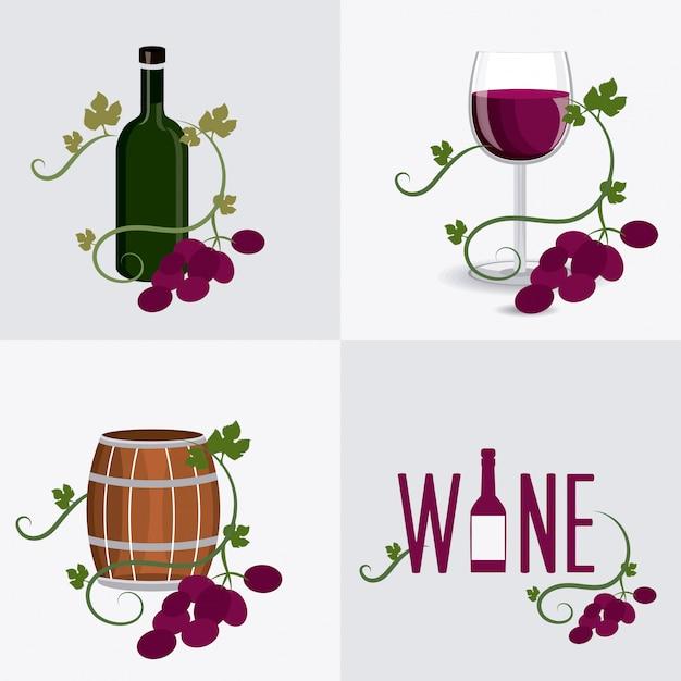 Conception de vin. Vecteur Premium