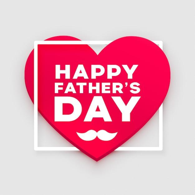 Conception De Voeux Coeur Heureux Fête Des Pères Vecteur gratuit