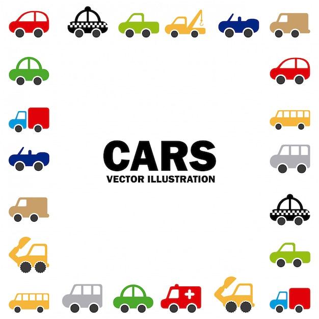 Conception de voitures sur illustration vectorielle fond blanc Vecteur Premium