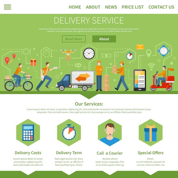 Conception web du service de livraison Vecteur gratuit
