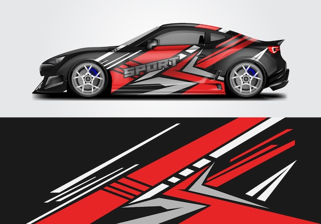 Conception de wrap de voiture de sport Vecteur Premium
