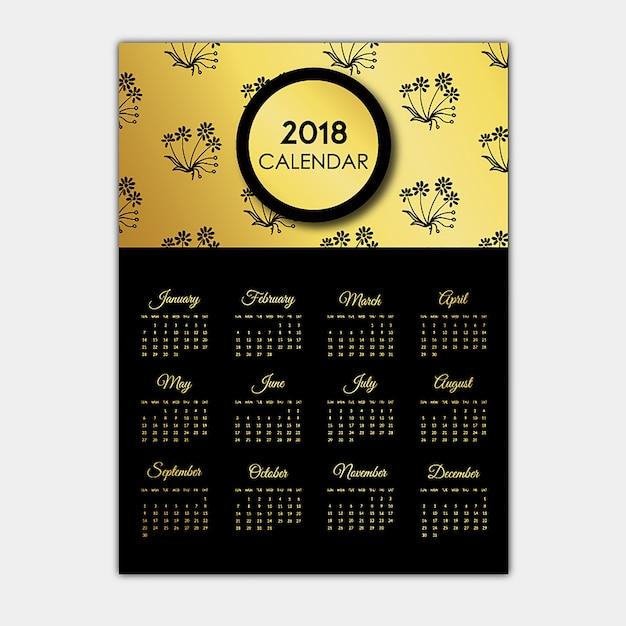 Conceptions de calendrier noir et or Vecteur gratuit