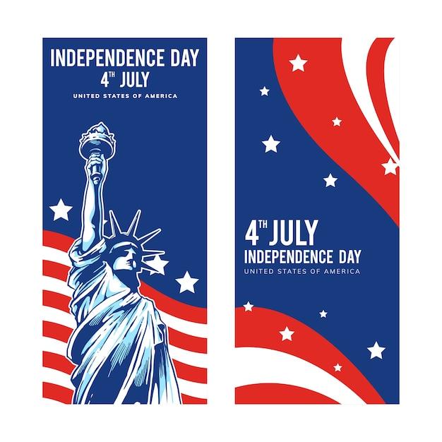 Conceptions De La Fête De L'indépendance Pour Les états-unis D'amérique Vecteur Premium