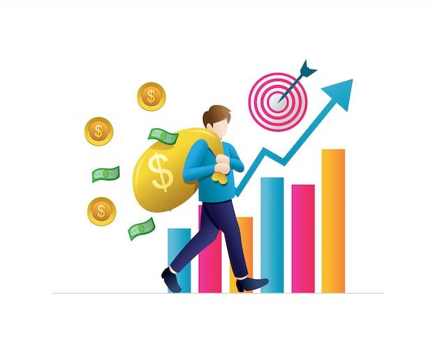 Concepts commerciaux pour l'investissement Vecteur Premium