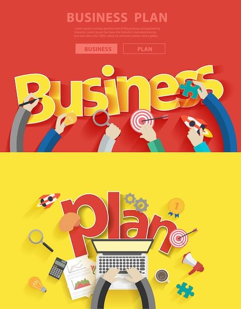 Concepts de design plat pour l'analyse et la planification de plan d'affaires Vecteur Premium