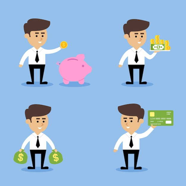 Concepts financiers de l'homme d'affaires Vecteur gratuit