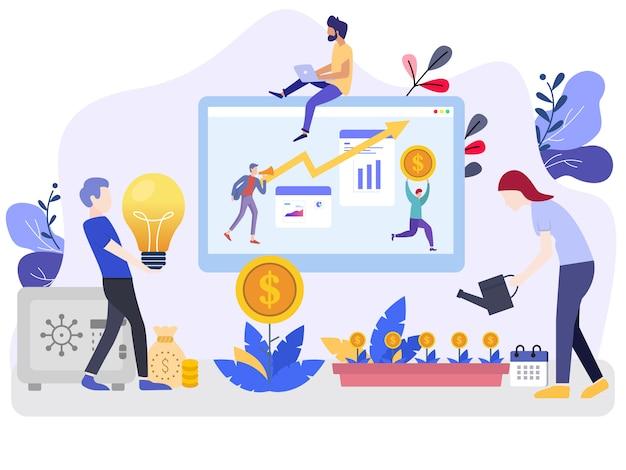 Concepts d'illustration vectorielle investissement avec des personnages Vecteur Premium