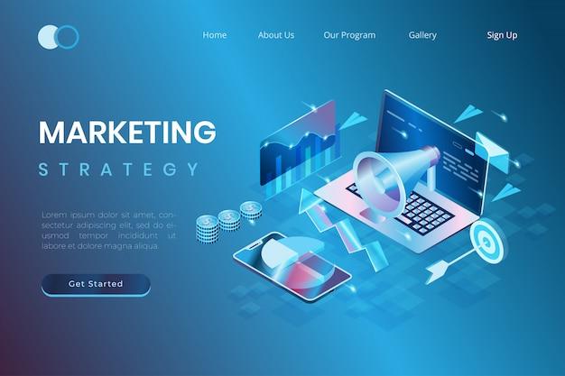 Concepts De Marketing Et De Promotion Numériques, Développement De Start-up, Analyse Des Données Marketing Dans Un Style D'illustration 3d Isométrique Vecteur Premium