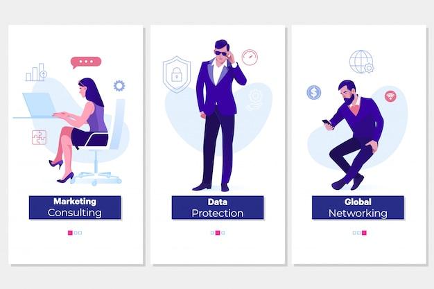 Concepts de protection, de conseil et de réseautage mondial Vecteur Premium
