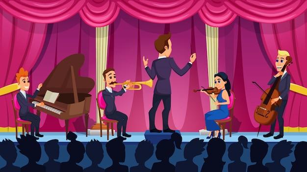 Concert De Dessin Animé D'orchestre De Musique Classique Vecteur Premium