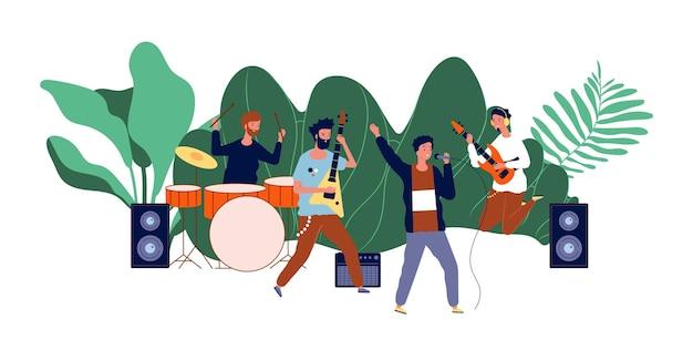 Concert D'équipe Masculine. Groupe De Garçons, Musiciens Masculins Ou Groupe Pop. Vecteur Premium