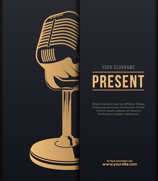 Concert de musique classique en affiche d'or Vecteur Premium