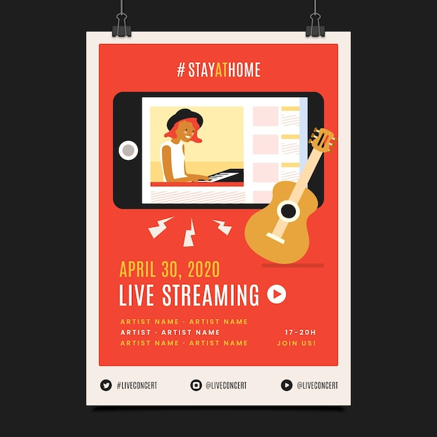 Concert De Musique Live Streaming Femme Jouant Vecteur gratuit