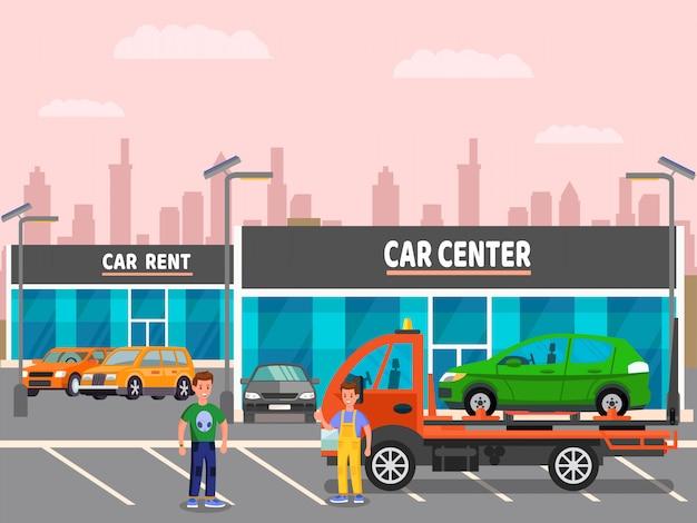 Concession automobile, illustration vectorielle rent center Vecteur Premium
