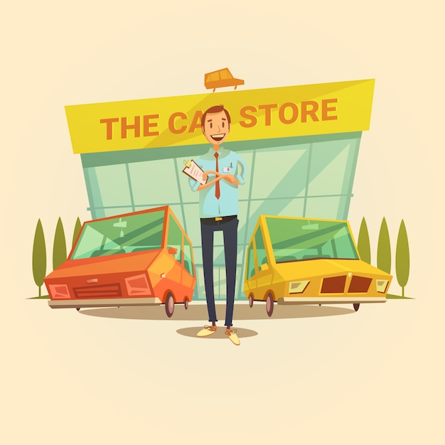 Concessionnaire automobile et concept de dessin animé de magasin de voiture avec différents types de voitures vector illustration Vecteur gratuit