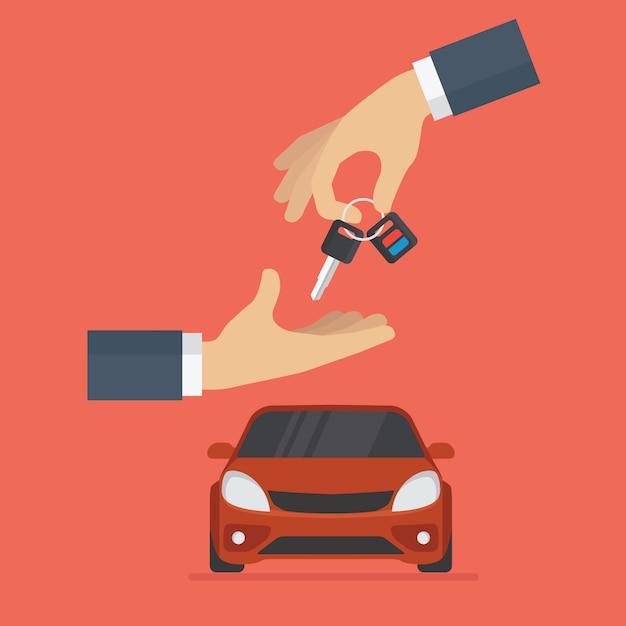 Concessionnaire automobile donne la clé de voiture à l'acheteur Vecteur Premium