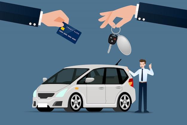 Le concessionnaire automobile vend une voiture. Vecteur Premium