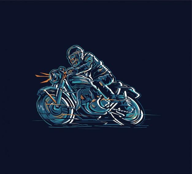 Concevoir La Moto Skid Rider Pour Des T-shirts Affiches Ou Graphiques Et Toute Autre Application Vecteur Premium