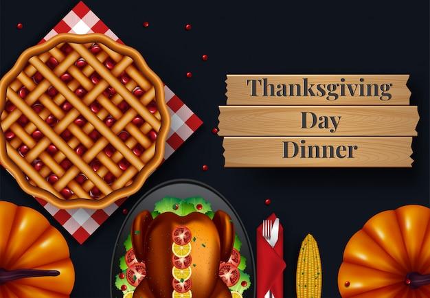 Concevoir pour l'invitation de dîner de thanksgiving. illustration vectorielle Vecteur Premium