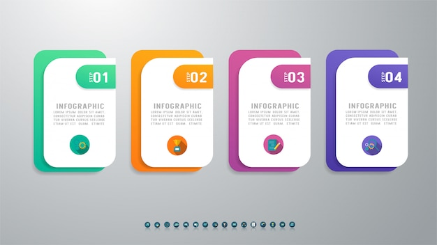 Concevoir Quatre éléments De Graphique Infographique Options. Vecteur Premium