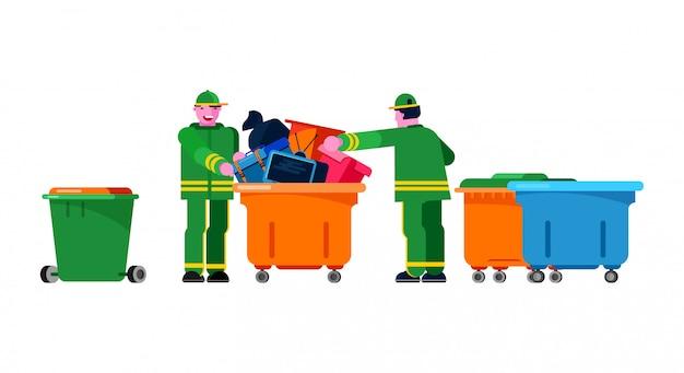 Concierge, essuie, jardinier, gens, tri, poubelle Vecteur Premium