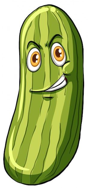 Concombre avec un visage Vecteur gratuit