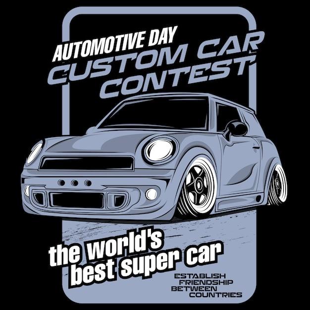 Concours de voitures personnalisées Vecteur Premium