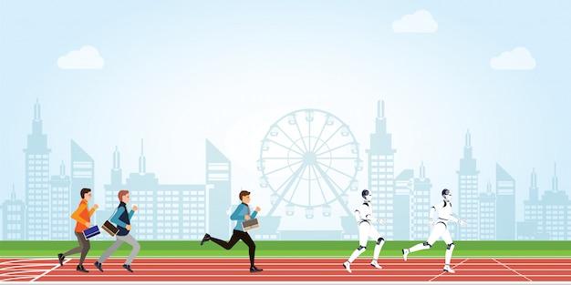 Concurrence commerciale avec dessin animé d'intelligence humaine et artificielle sur une piste d'athlétisme sur fond de vue ville. Vecteur Premium