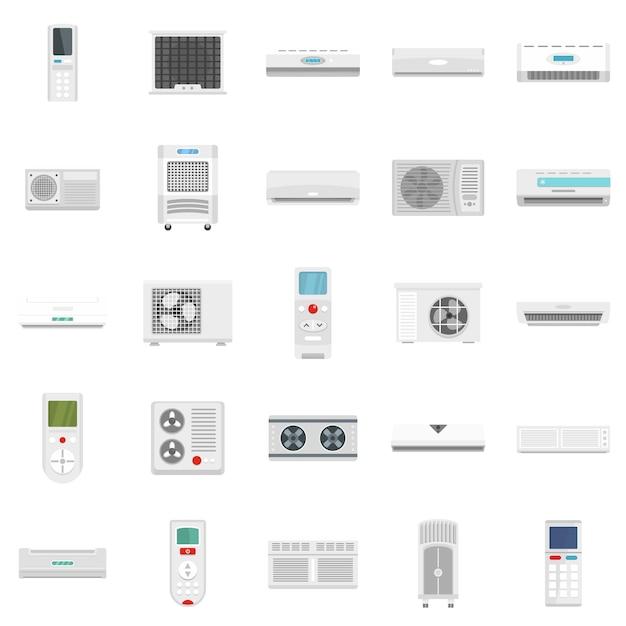 Conditionneur d'air filtre évent icônes définies Vecteur Premium