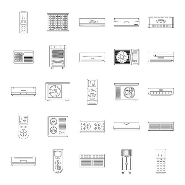 Conditionneur d'icônes de filtre à air Vecteur Premium