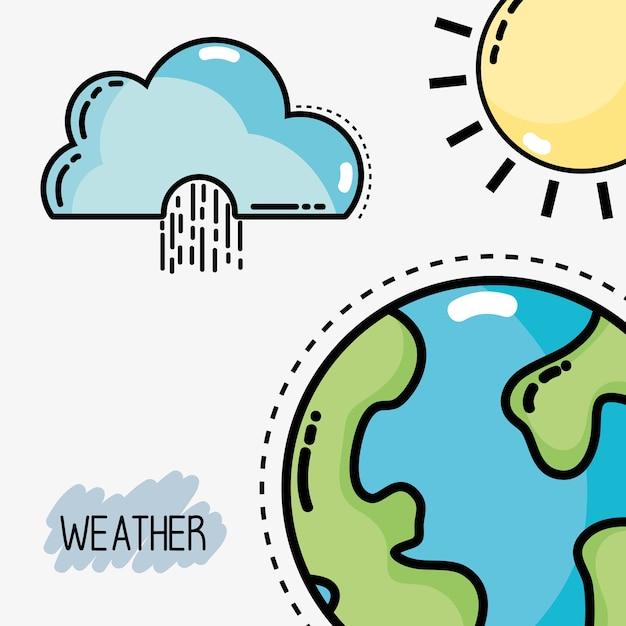 Conditions météorologiques naturelles et température différente Vecteur Premium