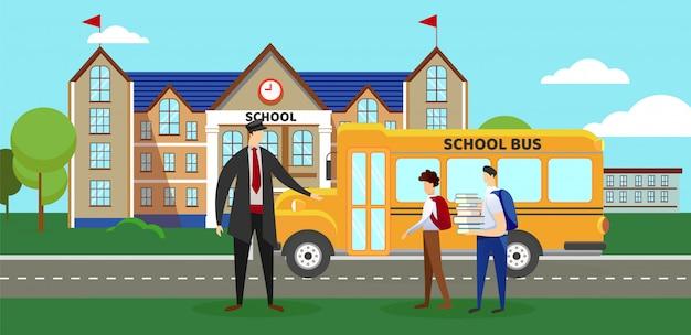 Conducteur et écoliers debout près d'autobus scolaire. Vecteur Premium