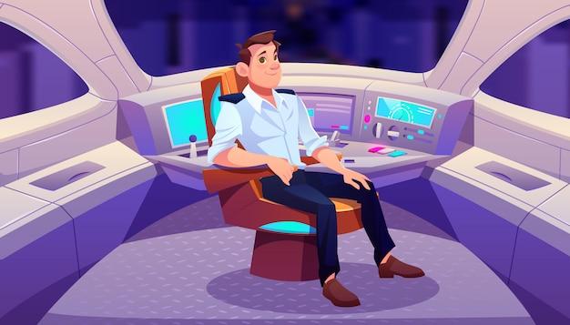 Conducteur De Train En Illustration De Dessin Animé De Cockpit Vecteur gratuit